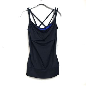 Lucy black tank top built in sports bra Strappy s